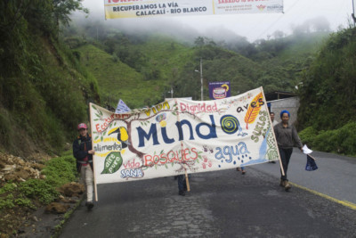 Protesters march against mining on March 22, 2018, near Mindo, Ecuador.