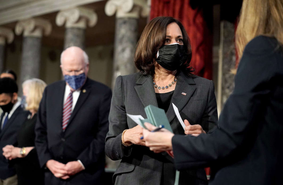 Vice President Kamala Harris is seen during a ceremonial swearing-in photo op for Sen. Patrick Leahy on February 4, 2021, in the Old Senate Chamber at the U.S. Capitol in Washington, D.C.