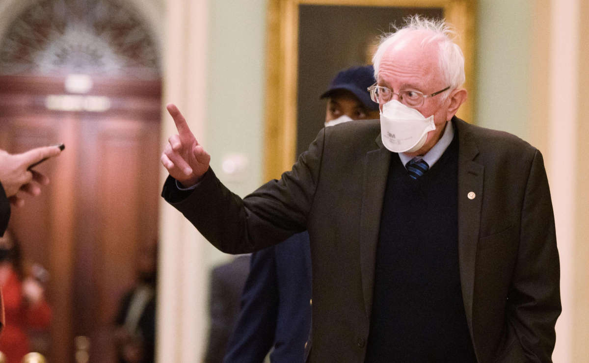 Sen. Bernie Sanders heads to the senate chamber in the U.S. Capitol in Washington, D.C. on February 13, 2021.