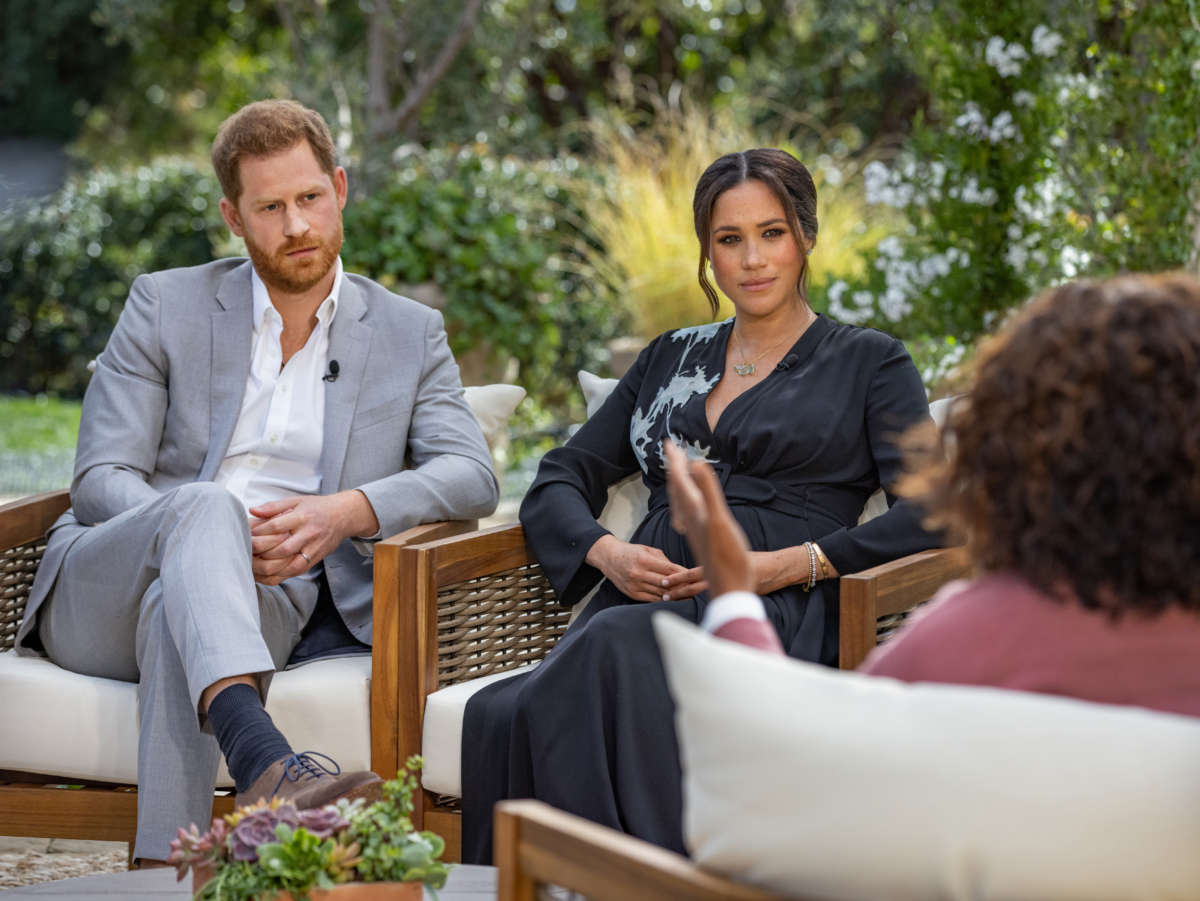 In this handout image provided by Harpo Productions and released on March 5, 2021, Oprah Winfrey interviews Prince Harry and Meghan Markle on a CBS Primetime Special airing on March 7, 2021.
