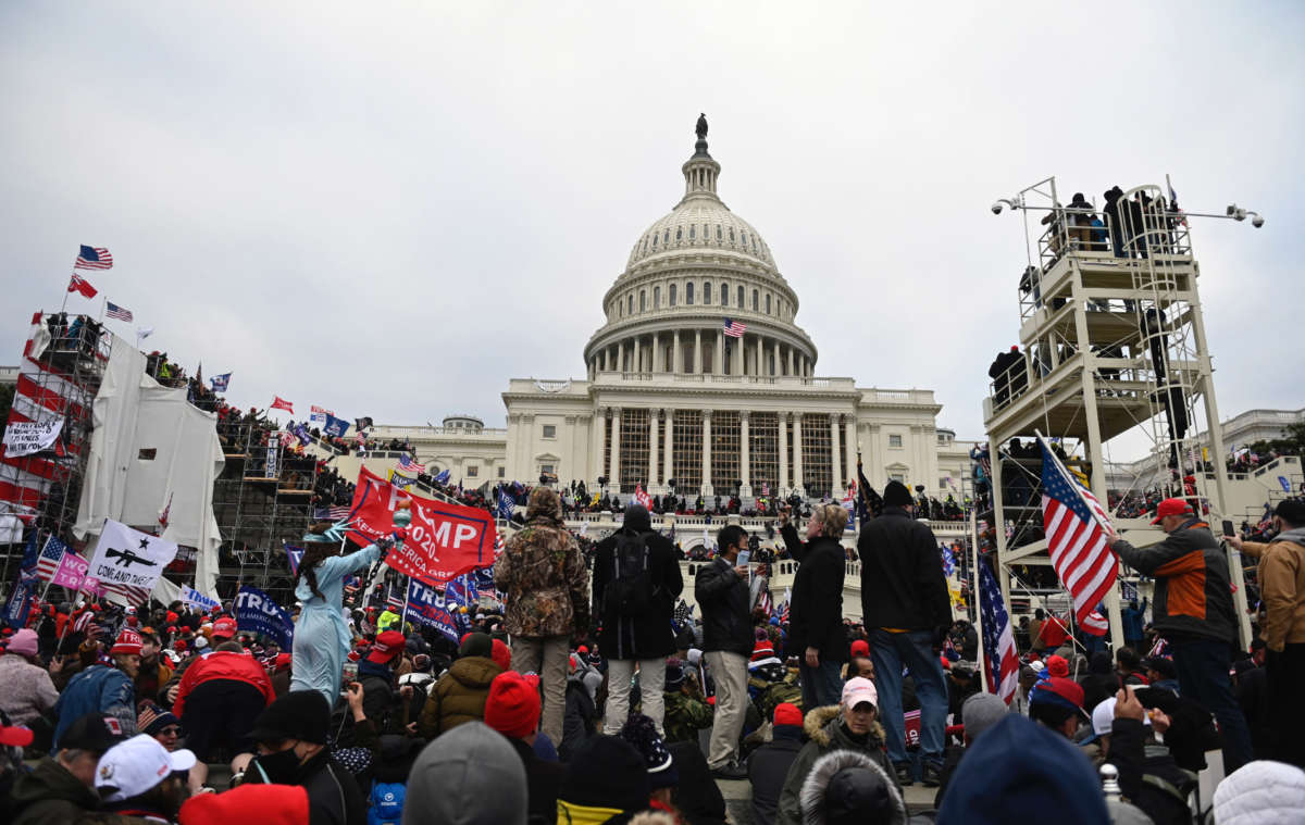 Trump supporters gather outside the U.S. Capitol on January 6, 2021, in Washington, D.C.