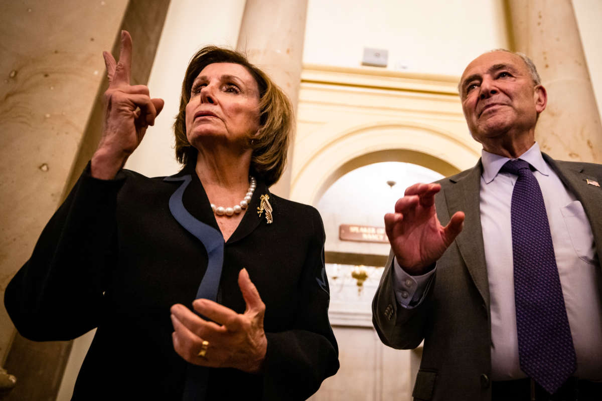 Speaker of the House Nancy Pelosi and Senate Majority Leader Chuck Schumer talk to reporters at the U.S. Capitol on June 23, 2021, in Washington, D.C.