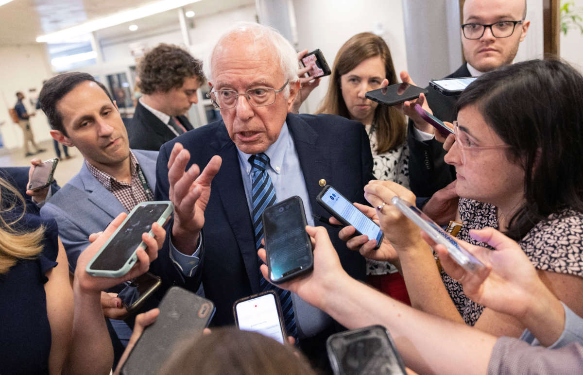 Sen. Bernie Sanders speaks to reporters about infrastructure legislation at the U.S. Capitol on July 14, 2021, in Washington, D.C.