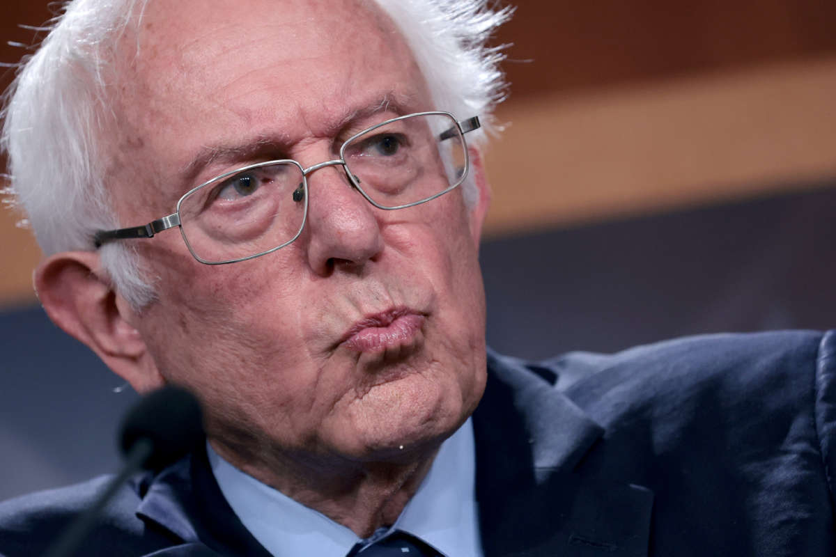 Sen. Bernie Sanders departs a press conference at the U.S. Capitol on October 6, 2021, in Washington, D.C.
