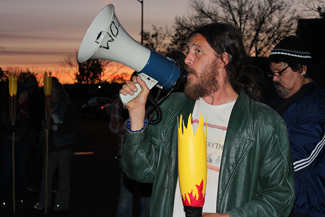 Faygo, local activist, speaking at the protest. (Photo: Dan Bacher)