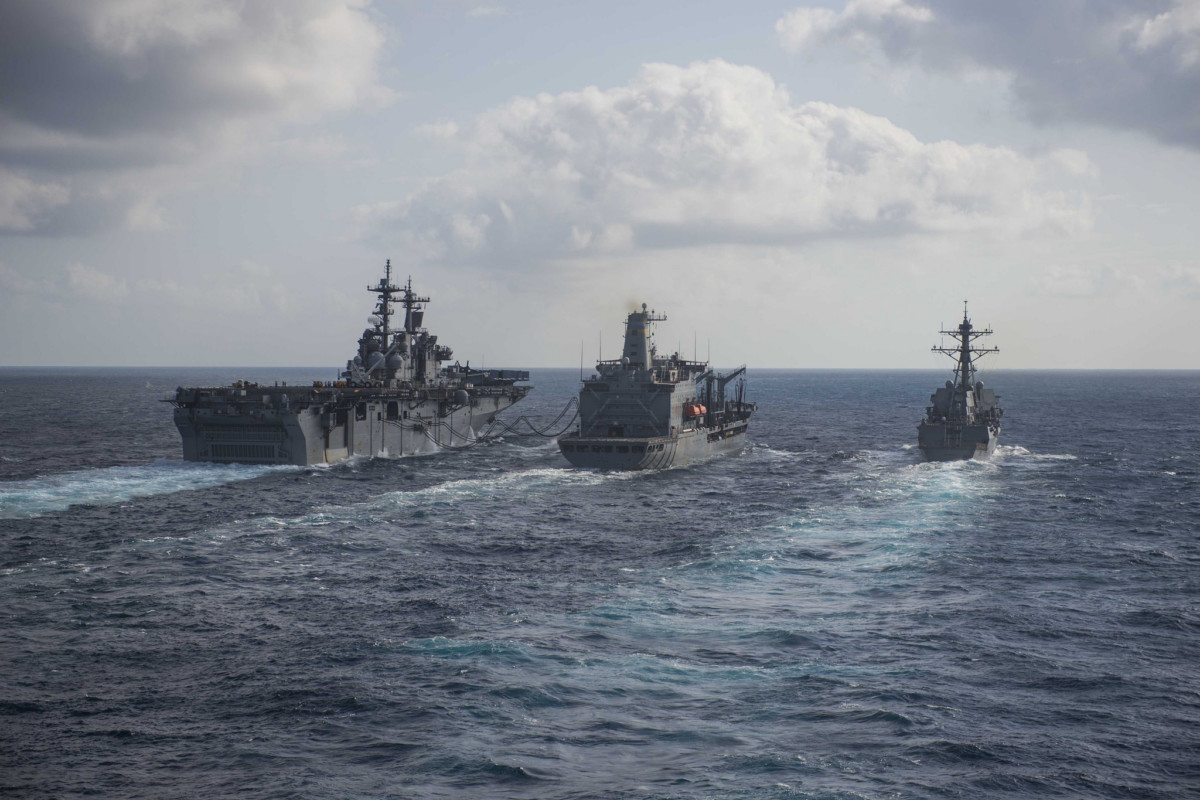 US ships conduct replenishment-at-sea while operating in the Indo-Pacific region, March 29. 2018.