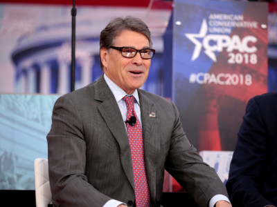 U.S. Secretary of Energy Rick Perry speaking at the 2018 Conservative Political Action Conference (CPAC) in National Harbor, Maryland.