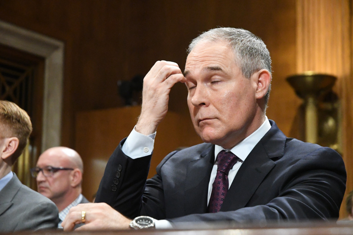 Scott Pruitt testifies at his confirmation hearing at the Senate Environment and Public Works committee in Washington, DC, January 18, 2017.