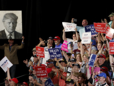 Trump supporters rally on July 5, 2018, in Great Falls, Montana. Trump's unexpected political success has led two powerful think tanks to discuss repositioning themselves in response to the rapid growth of both right-wing and left-wing populism on both sides of the Atlantic.