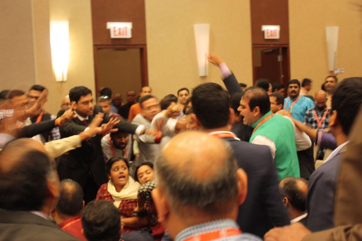 Members of Chicago South Asians for Justice were attacked while protesting at the World Hindu Congress in Chicago on September 7, 2018.