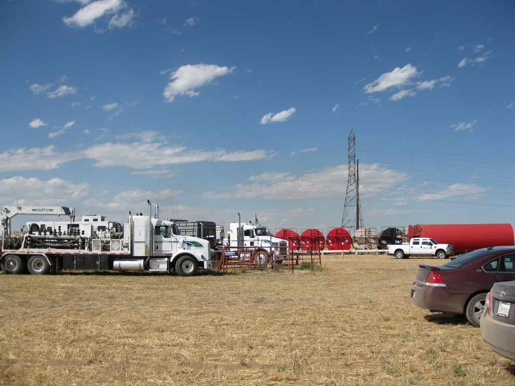 A natural gas hydraulic fracturing (fracking) site near Platteville, Colorado, taken on September 9, 2010.