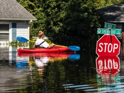 April O'Leary kayaking to her home in Conway, South Carolina.