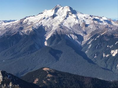 Glacier Peak in the central Cascade Mountains, seen from the East. The rapid retreat of the glaciers on this 10,541-foot mountain is starkly apparent in this photo of the fourth-highest mountain in Washington State.