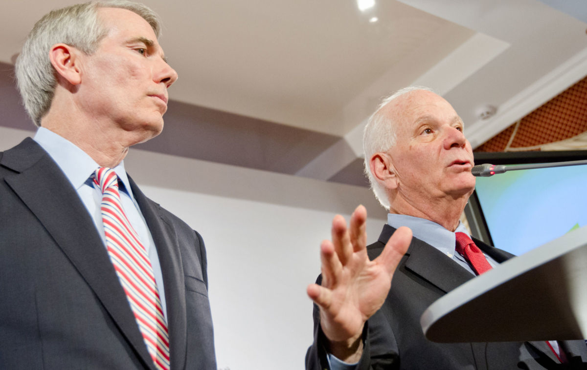 Senators Rob Portman (R-Ohio) (left) and Ben Cardin (D-Maryland) are hoping to cram an anti-boycott bill protecting Israel into urgent spending legislation.