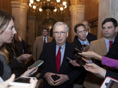 Senate Majority Leader Mitch McConnell speaks to reporters on Capitol Hill after returning from the White House on January 2, 2019, in Washington, DC.