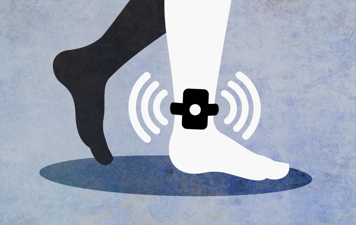 Illustration of legs with ankle monitor