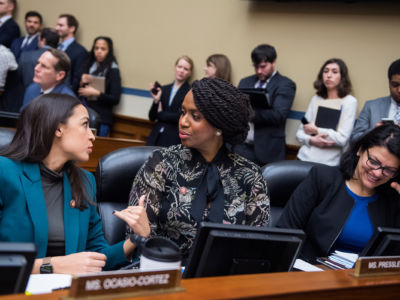 From left, Representatives Alexandria Ocasio-Cortez, Ayanna Pressley and Rashida Tlaib attend a House Oversight and Reform Committee business meeting in the Rayburn Building on Tuesday, January 29, 2019.