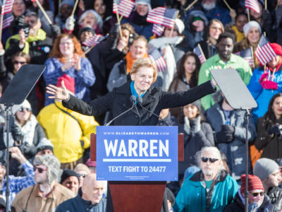 Sen. Elizabeth Warren (D-MA), announces her official bid for President on February 9, 2019, in Lawrence, Massachusetts.