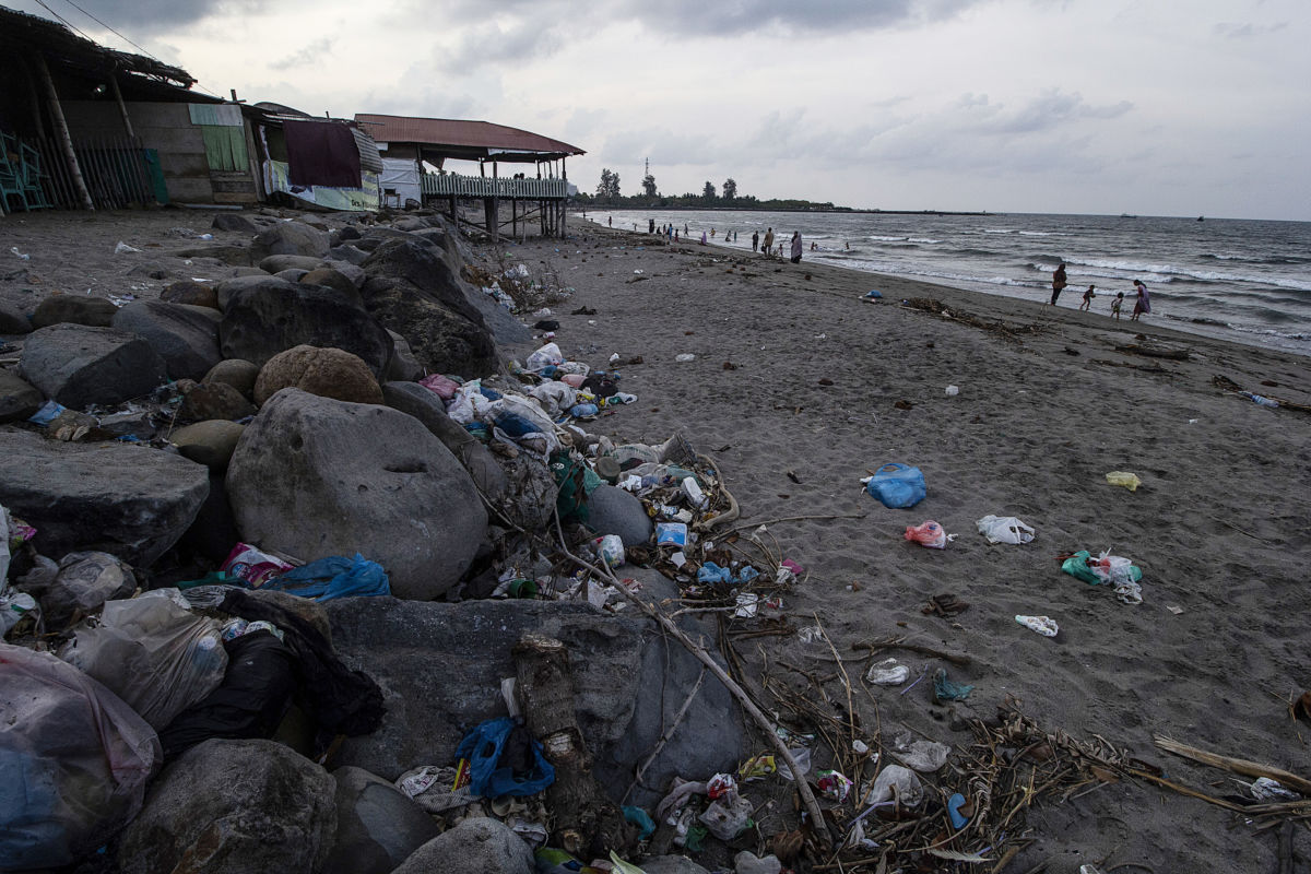 A view of the coastal area polluted by garbage in Ujong Blang village, Lhokseumawe, Indonesia. The country produces about 10.4 million tons of plastic waste per year. 8.2 million tons or 79 percent of plastic waste ends up in landfills and public places such as beaches.
