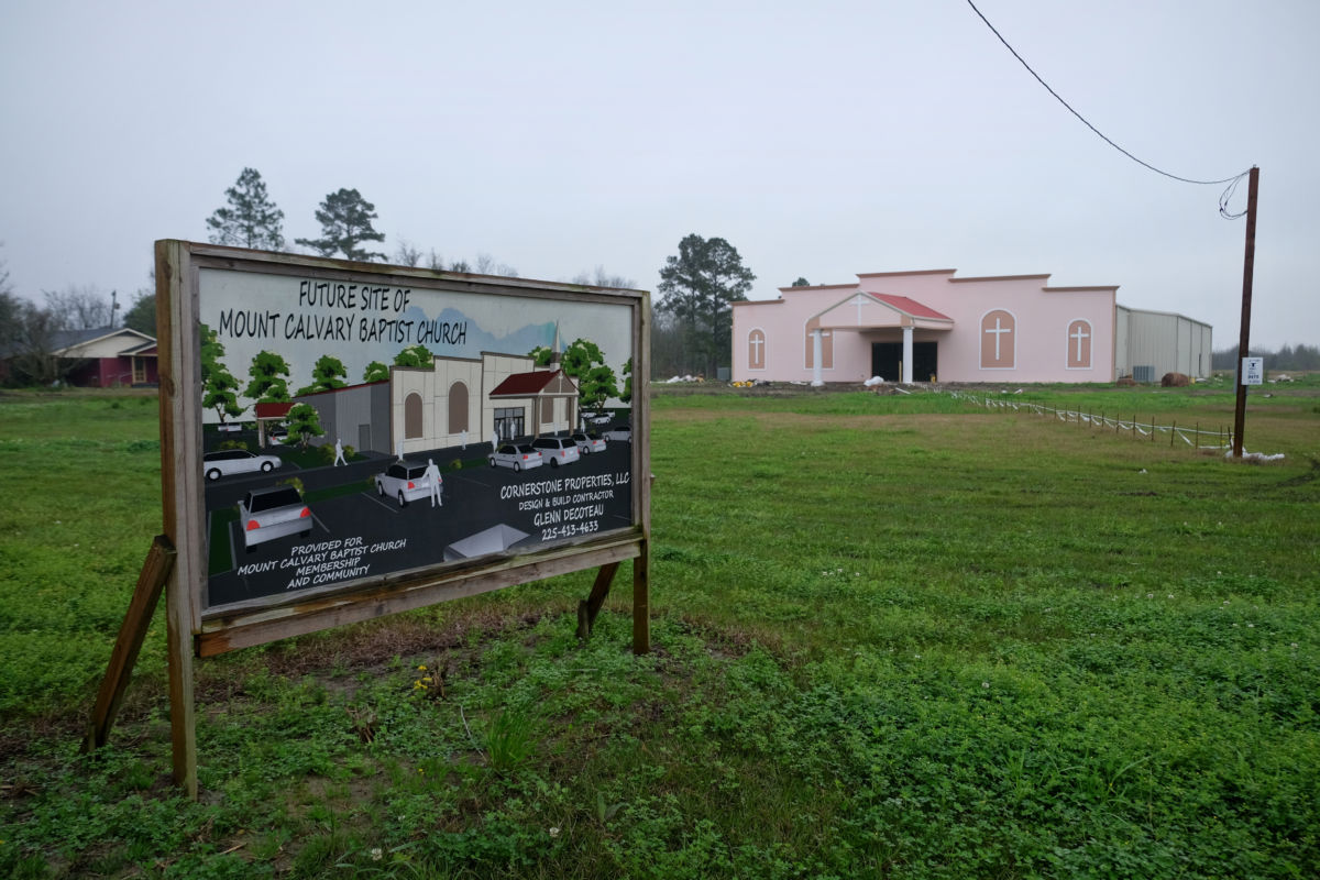 A local pastor in Welcome is building a new church at the edge of town, just over a mile from the site of the proposed Formosa plastics facility. The original church is further down the road, near the local elementary school.