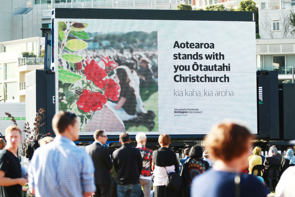 A message to Christchurch is displayed on a big screen during a National Remembrance Service at Waitangi Park on March 29, 2019, in Wellington, New Zealand.