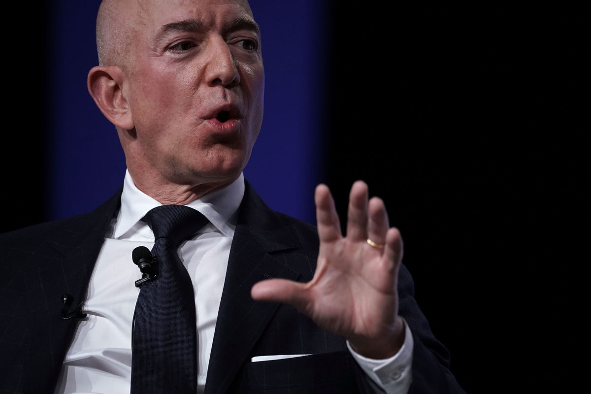 Amazon CEO Jeff Bezos, founder of space venture Blue Origin and owner of The Washington Post, participates in an event hosted by the Air Force Association September 19, 2018, in National Harbor, Maryland.