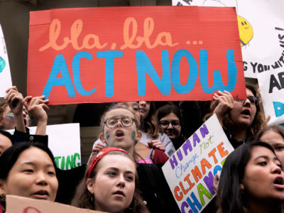 New York City students joined their counterparts from around the world demanding that elected officials put on end to the climate crisis.