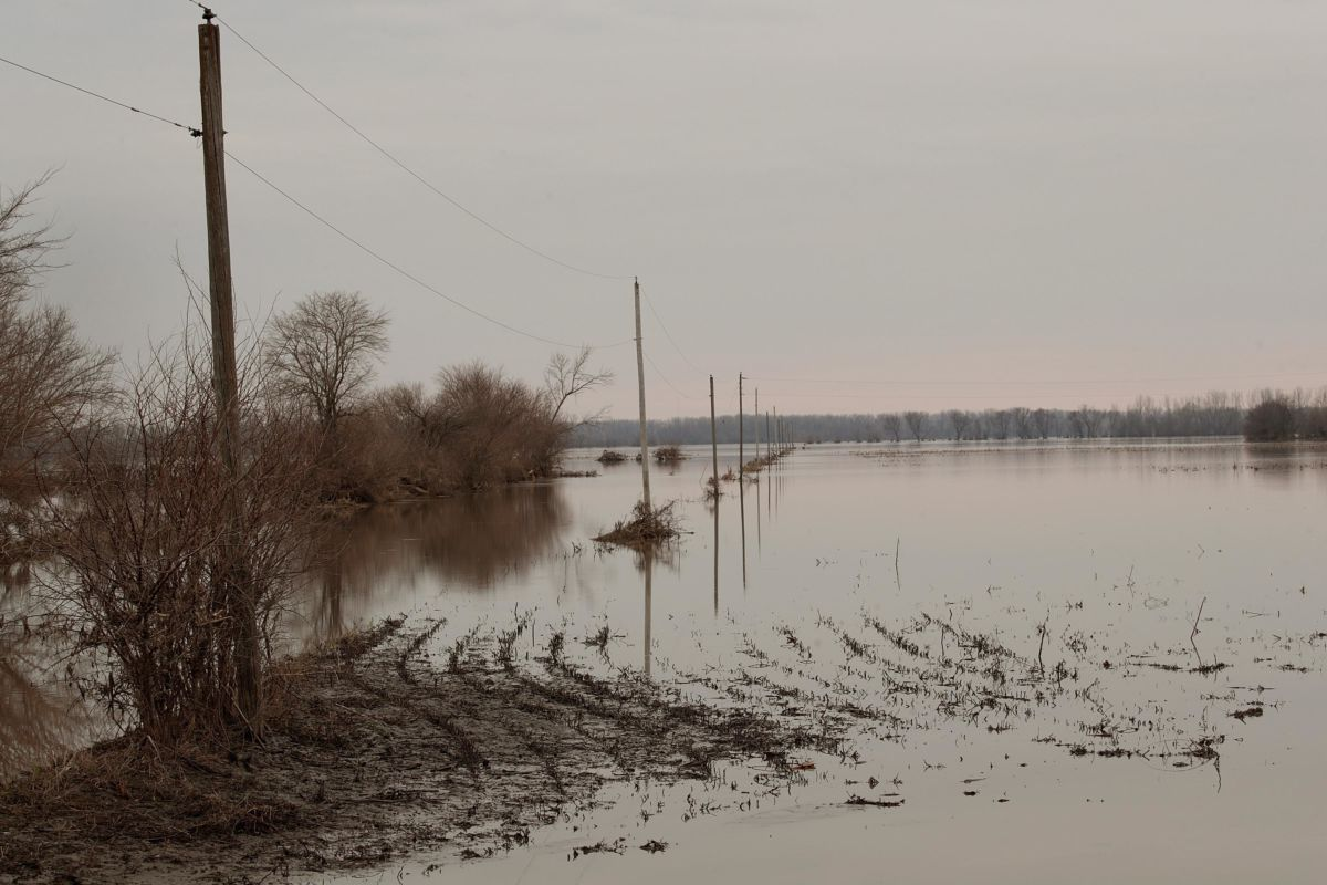 Floodwater recedes from a corn field on March 23, 2019, near Union, Nebraska.