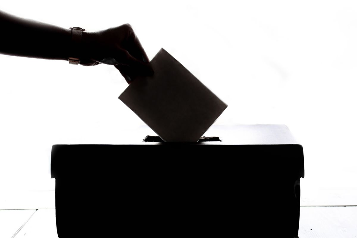 A shadowy hand places a ballot in a box.