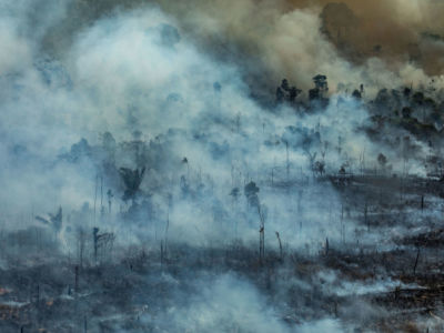 Aerial image of the Amazon burning in the Jamanxim Environmental Protection Area in the city of Novo Progresso in Pará state, Brazil.