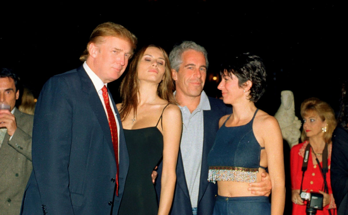 Donald Trump and his girlfriend, former model Melania Knauss financier Jeffrey Epstein and British socialite Ghislaine Maxwell pose together at the Mar-a Lago club Palm Beach Florida February 12