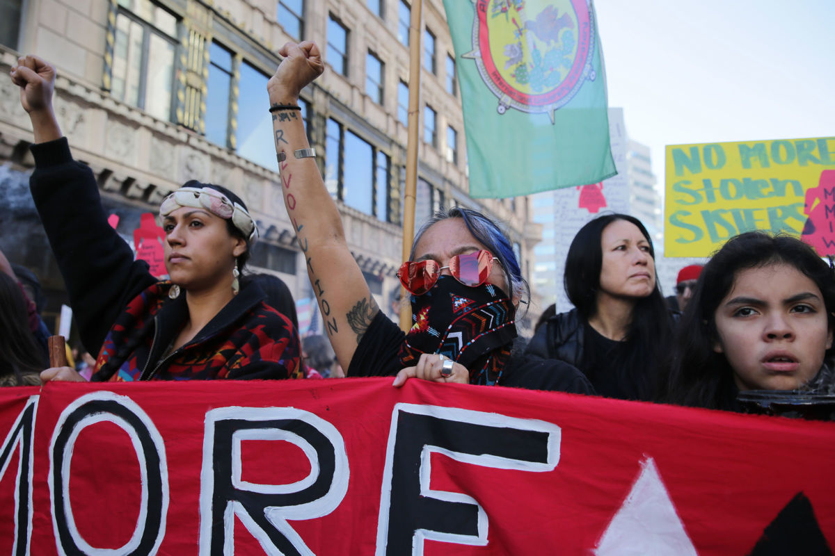 Activists march for missing and murdered Indigenous women at the Women's March California on January 19, 2019, in Los Angeles, California.