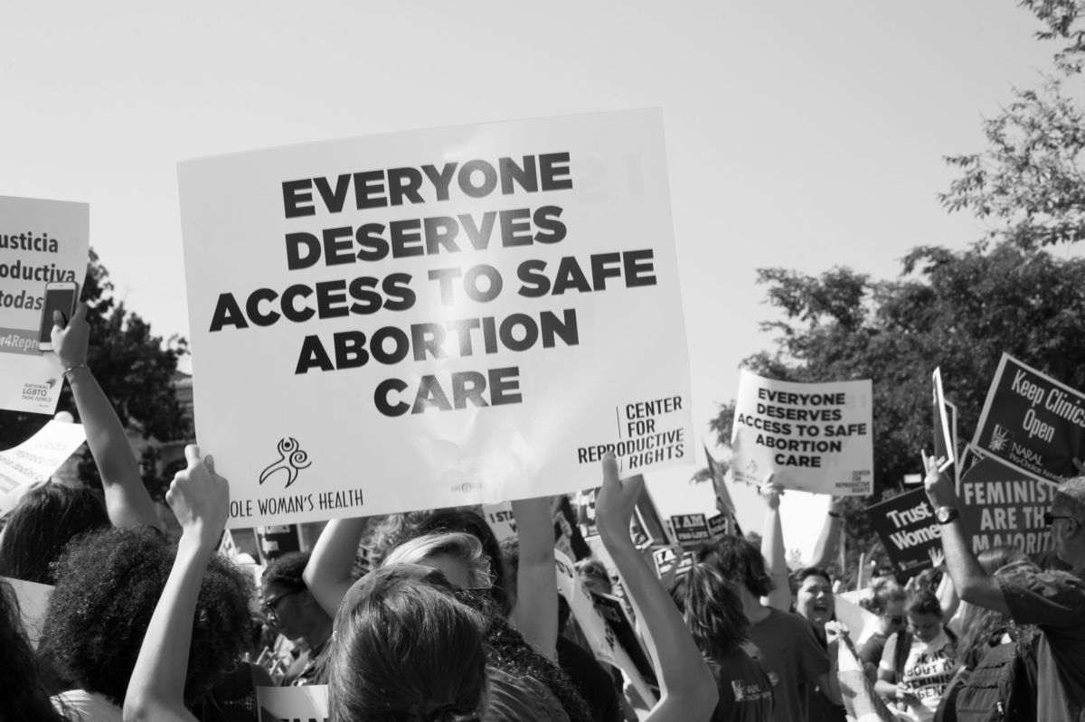 Pro-choice activists demonstrate in front of the Supreme Court in Washington, D.C. on June 27, 2016.