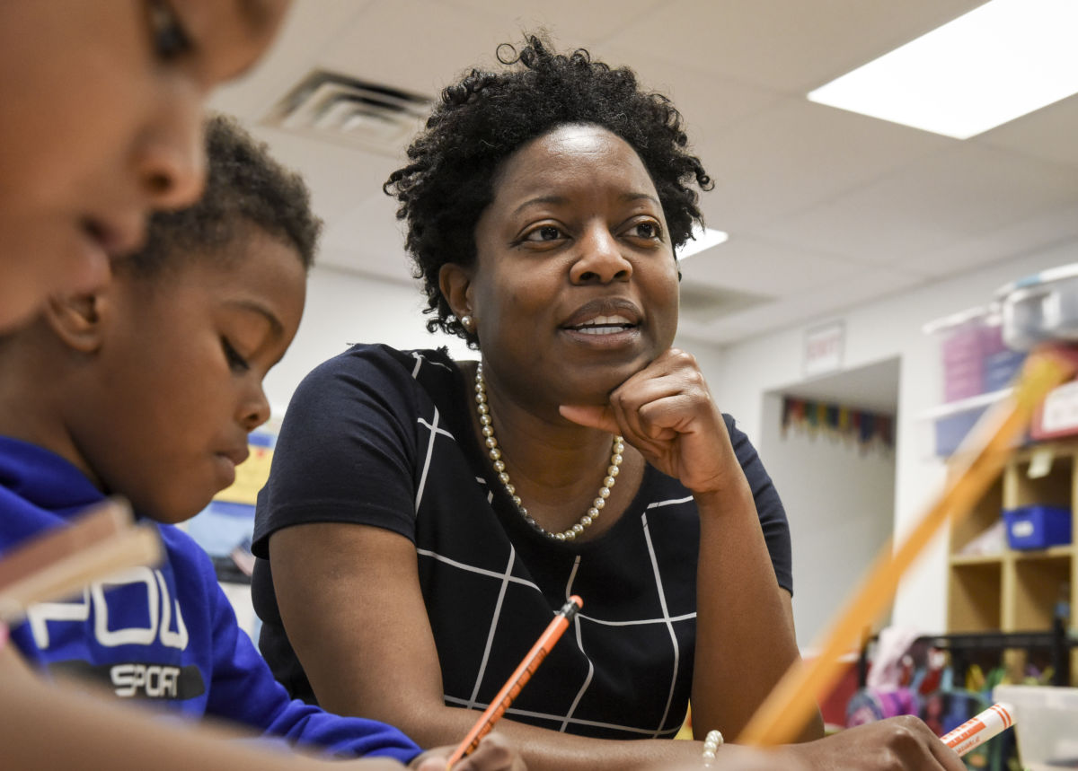 Interim Chancellor for the District of Columbia Public Schools Amanda Alexander observes a pre-k classroom at Wheatley Education Campus on May 8, 2018, in Washington, D.C.