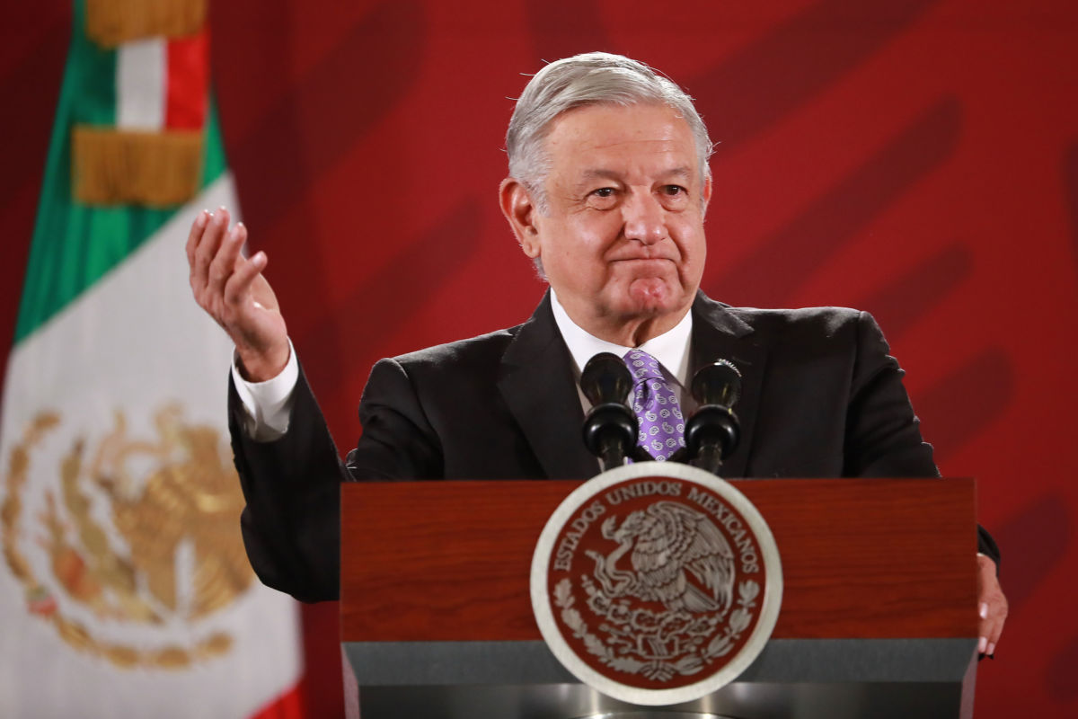 President of Mexico Andrés Manuel Lopez Obrador gestures during the Presidential Daily Morning Briefing