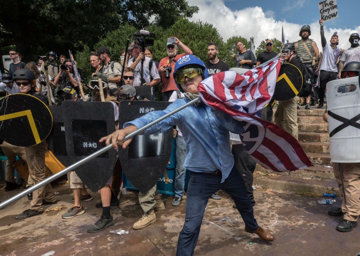 """Clashes at the """"Unite the Right"""" rally in Charlottesville, Virginia, on August 12, 2017. Patriot Front was formed in the aftermath."""