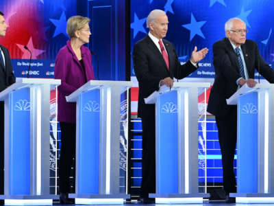 From left, Democratic presidential hopefuls Mayor of South Bend Pete Buttigieg, Massachusetts Senator Elizabeth Warren, Former Vice President Joe Biden and Vermont Senator Bernie Sanders participate in the fifth Democratic primary debate of the 2020 presidential campaign season in Atlanta, Georgia, on November 20, 2019.