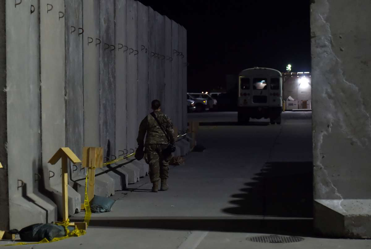 A U.S. soldier walks at Bagram Air Field, on November 28, 2019, in Afghanistan.