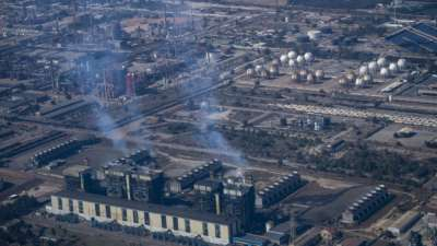 Aerial picture showing a Pemex oil complex in Tula, Hidalgo State, Mexico, taken on February 4, 2019.