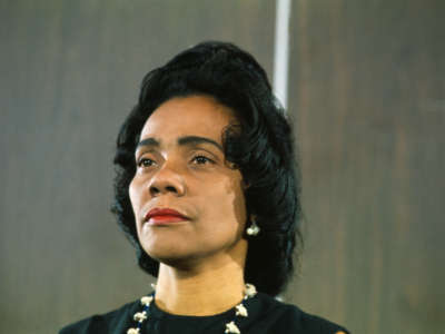 The file on Coretta Scott King, who appears in this photo taken on May 1, 1968, a testament to the larger racist ugliness festering in the U.S., then as now.