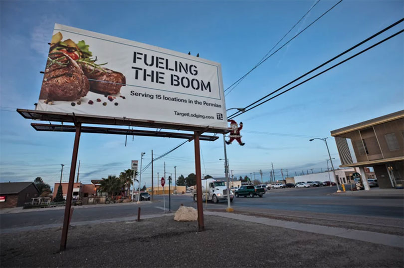 Billboard in Pecos, Texas, where finding a meal for a vegetarian isn't easy.