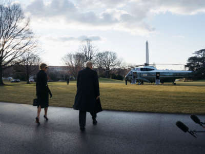 Outgoing President Trump and first lady Melania Trump prepare to depart the White House on Marine One on January 20, 2021, in Washington, D.C.