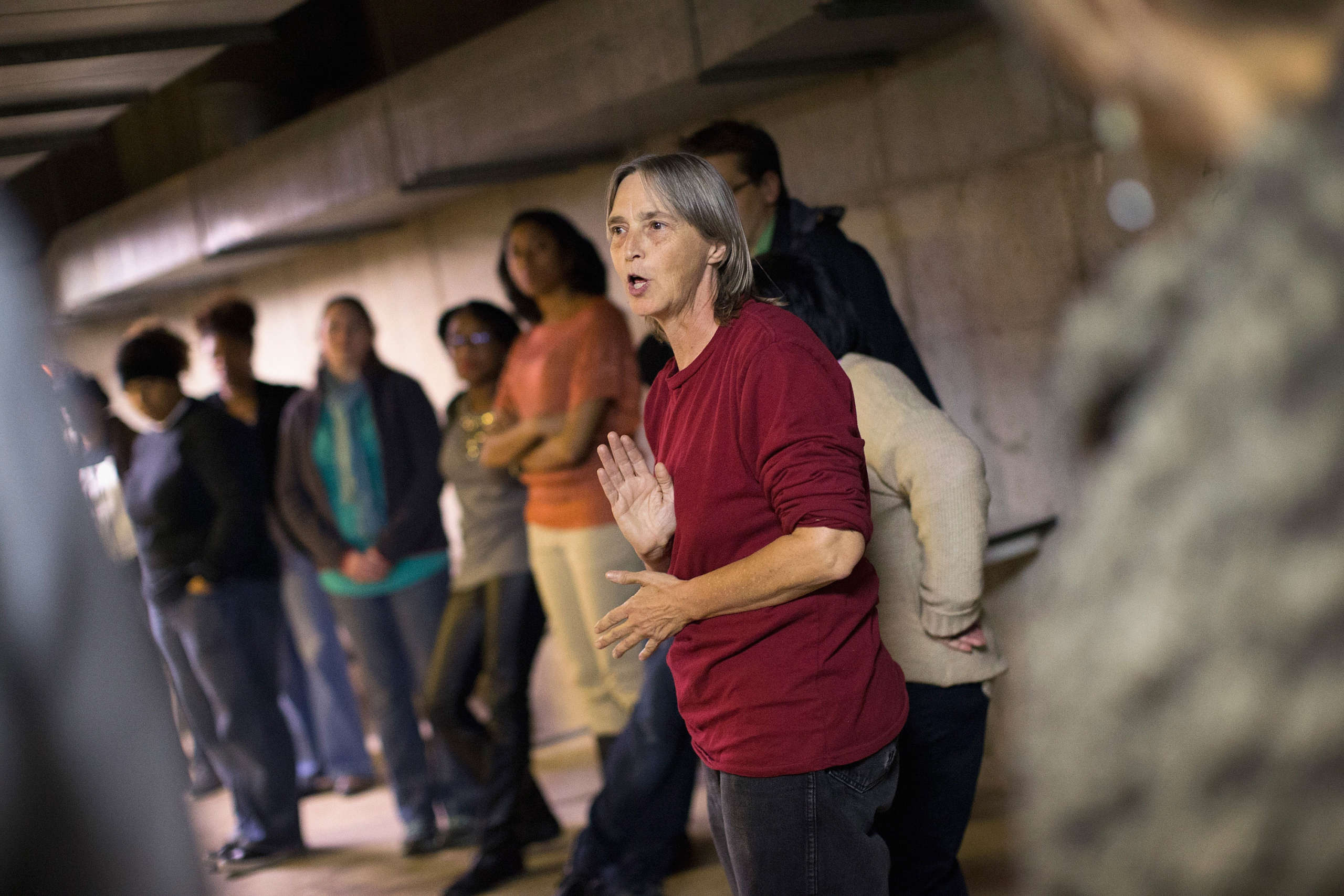 Lisa Fithian offers demonstrators direct action training as they prepare for the announcement of the grand jury decision regarding the death of Michael Brown in the basement of Greater St. Mark's church on November 11, 2014, in St. Louis, Missouri.
