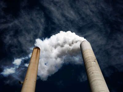 The smoke stacks at American Electric Power's (AEP) Mountaineer coal power plant in New Haven, West Virginia, October 30, 2009. AEP ran a pilot program starting in 2009 to capture carbon on-site at the Mountaineer plant, but shelved further developments after the program's completion in 2011.