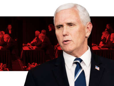 Food industry executives gathered for a roundtable discussion with Vice President Pence in West Des Moines, Iowa, were asked to remove their masks before Pence joined them onstage.