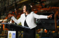 Michigan Gov. Gretchen Whitmer speaks at an event at the Orion Assembly Plant on March 22, 2019, in Lake Orion, Michigan.