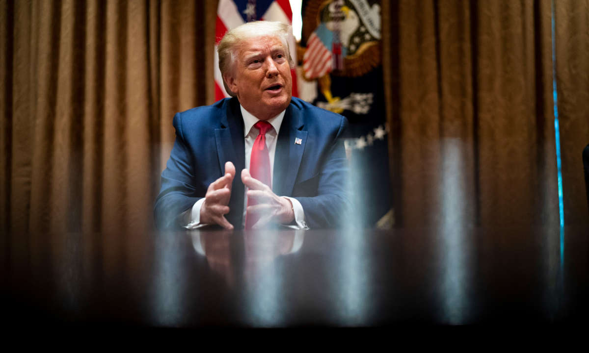 President Trump speaks during a round table discussion in the Cabinet Room of the White House on June 10, 2020, in Washington, D.C.