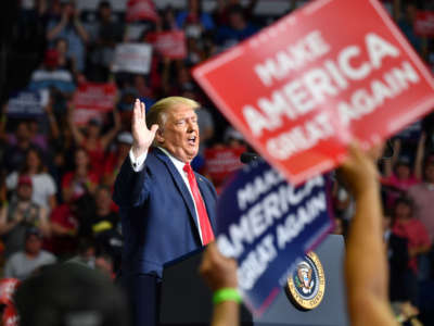 President Trump speaks during a campaign rally at the BOK Center on June 20, 2020, in Tulsa, Oklahoma.
