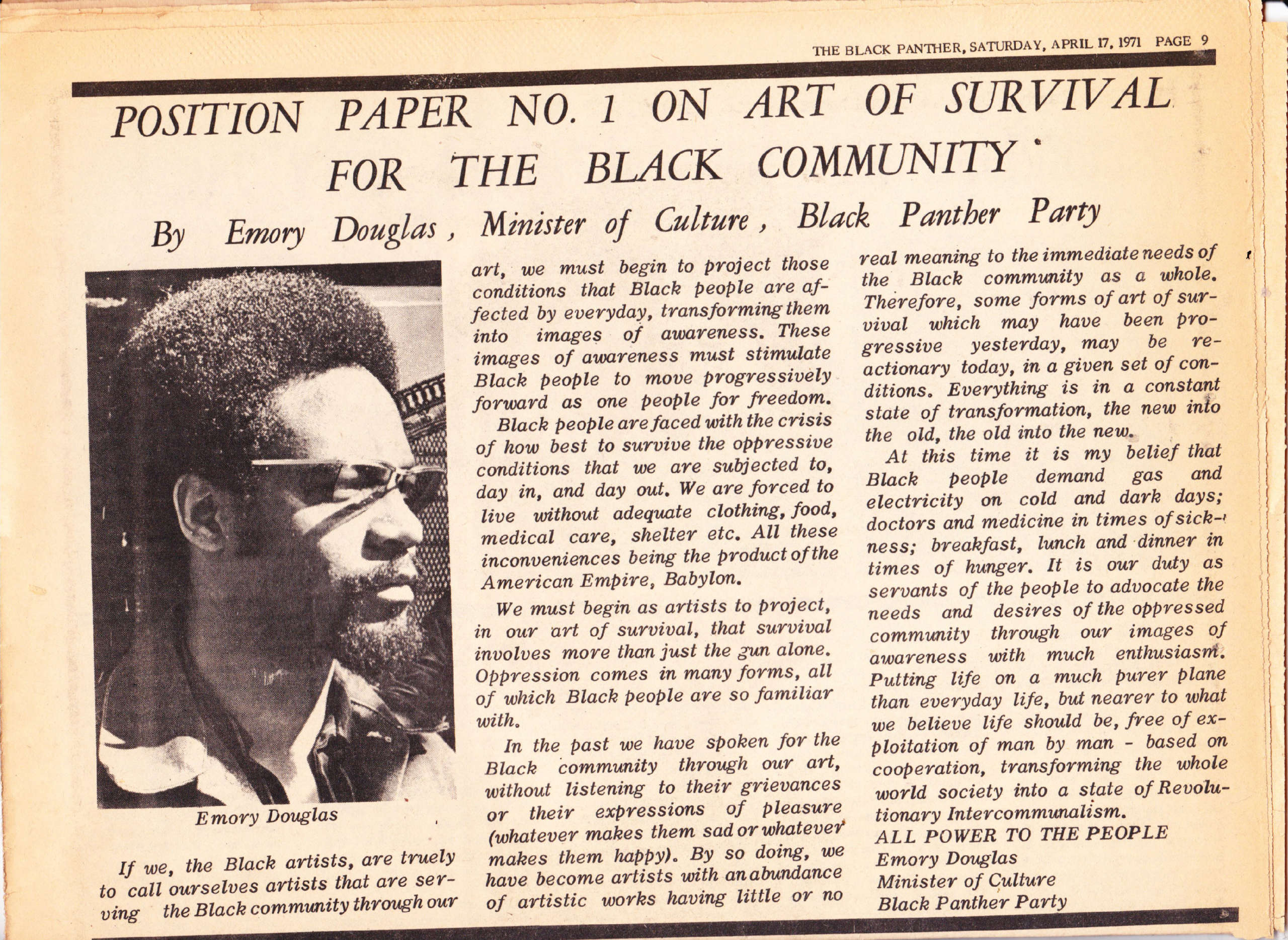 Emory Douglas writes in The Black Panther on Art of Survival, April 17, 1971.
