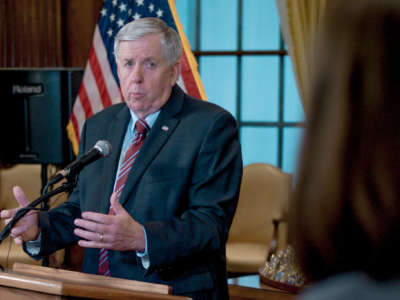 Gov. Mike Parson responds to a media question during a press conference on May 29, 2019, in Jefferson City, Missouri.